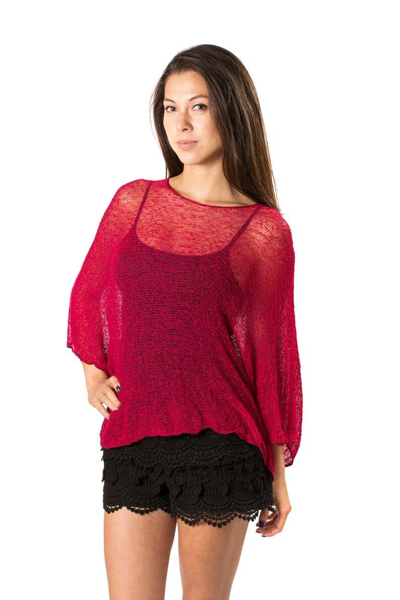 a202f42b5e Cherry Red Prema Beach Cover-up Shirt & Tunic. Woven Open | Etsy