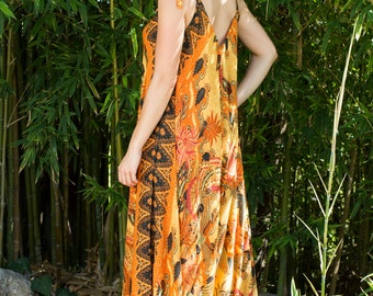 Wide Leg Womens Gypsy Long Jumpsuit Dress in Orange Bird Batik,Summer Resort Beach Swimsuit Coverup,One piece Playsuit,Bali Sarong Fits S-XL