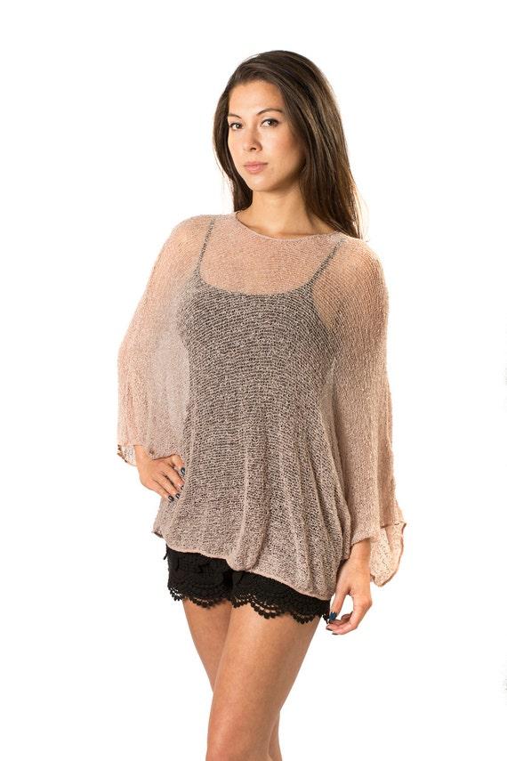 a01c85f1c6 Tan Nude Prema Beach Cover-up Shirt & Tunic. Woven Open Knit | Etsy