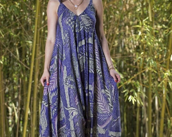 Wide Leg Womens Gypsy Long Jumpsuit Dress in Purple Batik,Summer Resort Beach Swimsuit Coverup,One piece Playsuit,Bali Sarong Fits S-L