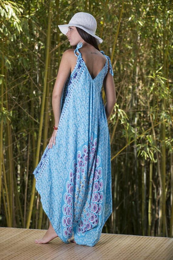 7ae1e0bfcabc9 Wide Leg Womens Gypsy Long Jumpsuit Dress in Aqua Summer