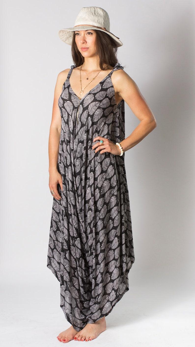f1c2418eaa688 Wide Leg Womens Gypsy Long Jumpsuit Dress in Black Leaf