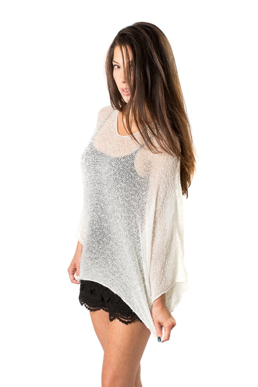 d5d38ffe31 Off White Prema Beach Cover-up Shirt & Tunic. Woven Open Knit | Etsy