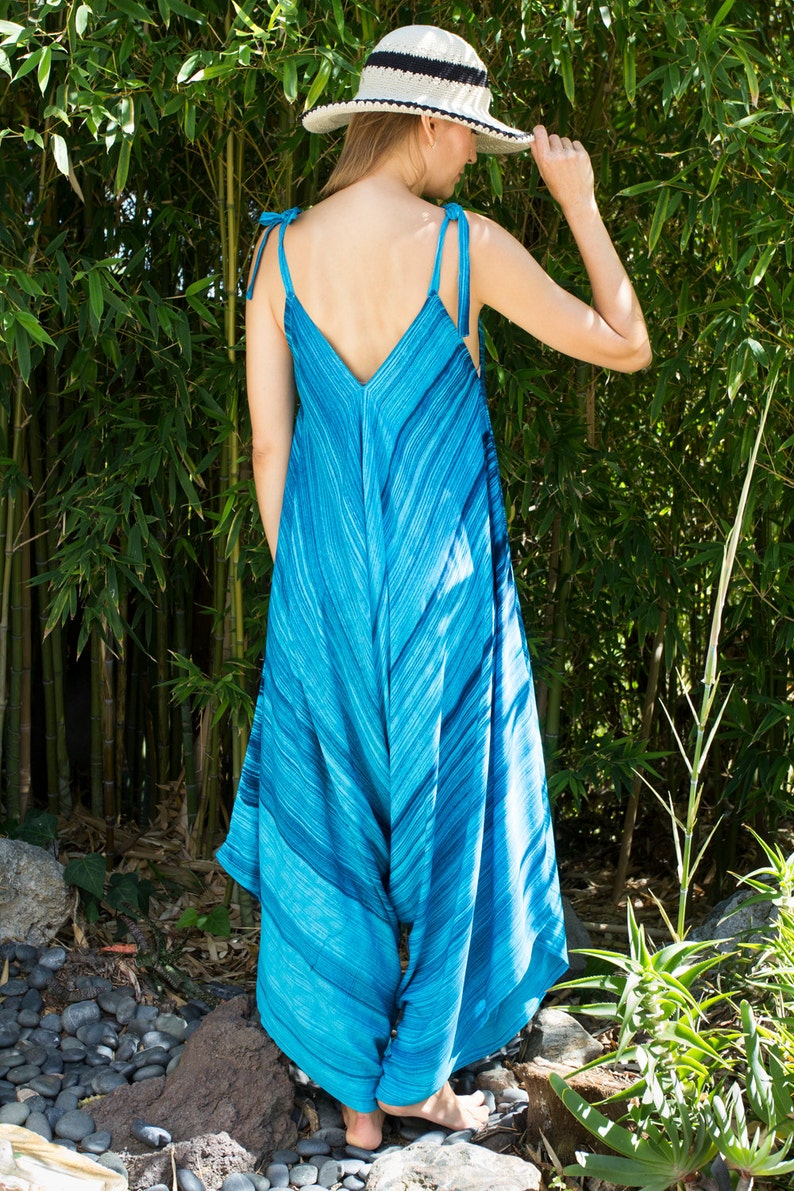 Playsuit Beach Wide Leg Womens Gypsy Long Jumpsuit Dress in Turquoise and Blue Stripe 24 Torso S-XL Swimsuit Coverup Summer Resort