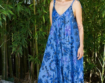 Wide Leg Womens Gypsy Long Jumpsuit Dress in Blue Star Batik,Summer, Resort, Beach, Swimsuit Coverup, One piece Playsuit, one size fits S-XL