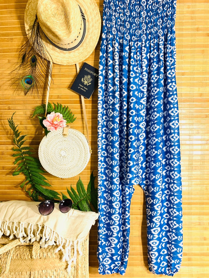 34218d11ab Womens Blue Ikat Casual Harem Pants Jumpsuit Boho Chic Beach