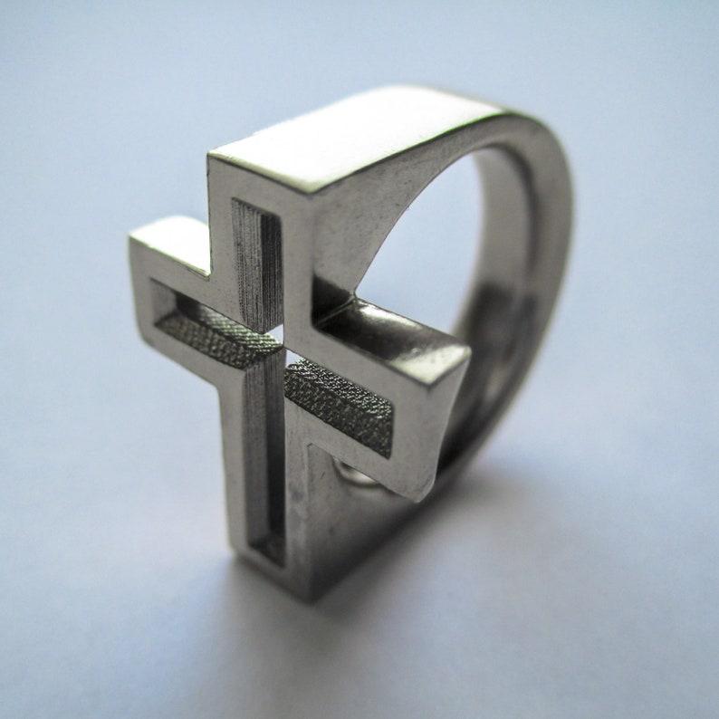 Solid Metal Crucafix Ring image 0