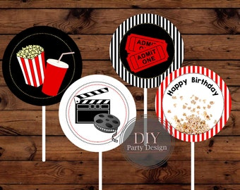 Movie Night Cupcake Toppers * Instant Download * Digital File You Print