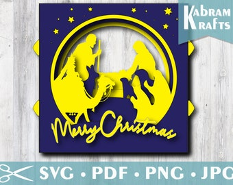 3D Nativity Christmas SVG/ Pop-up Xmas Card/ Papercut Layered Tunnel Card/ Cardstock Dimensional Scene/ Digital Holiday Card Cutting File