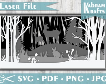 Forest Layered SVG Laser Cut Design - Deer, rabbits, and woods in 4 layers designed for a laser cutter or paper art with silhouette cricut