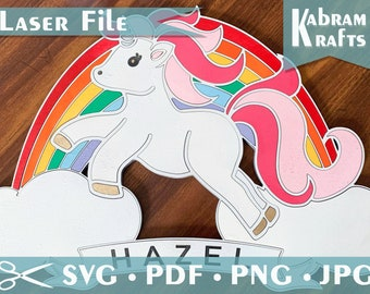 Unicorn Rainbow Laser Cut SVG File - DIGITAL DOWNLOAD only. Girls sign parties, room decoration, wall hanging with or without banner