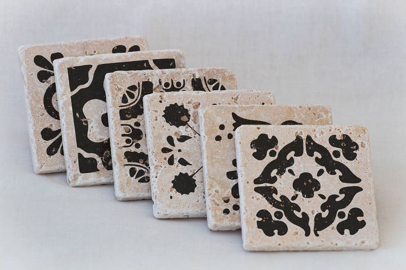 Set of 6 Natural Stone Coasters with Spanish Tile Designs on image 0