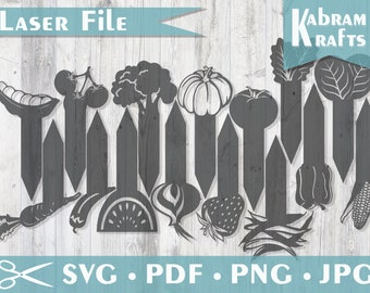 Garden stakes, plant markers SVG - laser cutting file, glowforge pattern, set of 15 plant stakes for vegetable boxes and gardening template