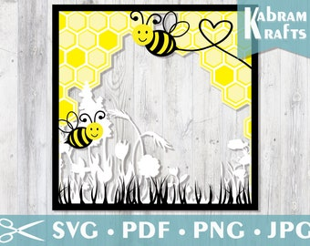 Bumble Bee Honeycomb - 3D Paper Cut Template Light Box Shadow Box SVG Digital Download File Baby Shower Gift Square Layered Paper Art Frame