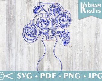 SVG Roses in a Vase 3D Pop Up Card Template Digital File for Cricut Silhouette Cameo Laser Cutting Machines. Wedding, anniversary, valentine