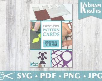 Homeschooling Printable Preschool Pattern Cards with Print and Cut Shapes or SVG cutting file for Silhouette Cameo, Cricut or craft cutter