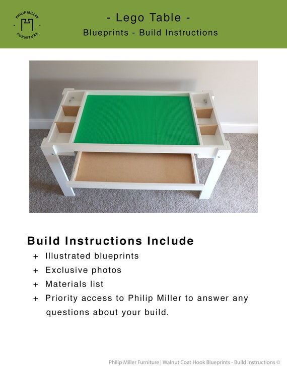 Lego Kid Play Table Blueprint Woodworking Etsy