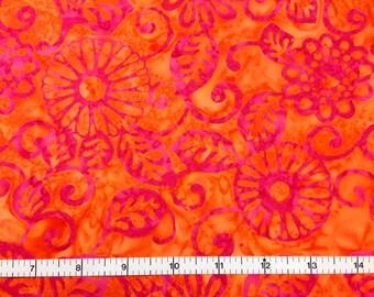 Michael Miller FLORAL FLING - SORBET Batik 100% Cotton Premium Fabric - sold by 1/2 yard