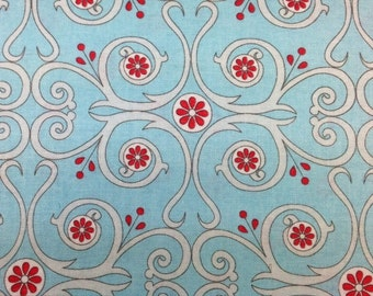 Red Rooster Primrose Sands (SWIRLS AND FLOWERS - Teal) 100% Cotton Premium Fabric - sold by 1/2 yard