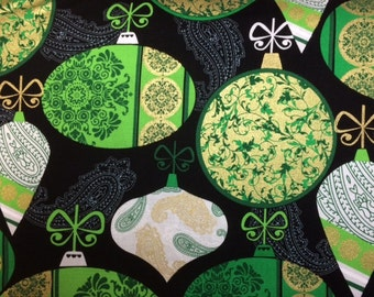 Kanvas DECK THE HALLS (Green White Ornaments - Black) 100% Cotton Premium Fabric for Quilting - sold by 1/2 yard