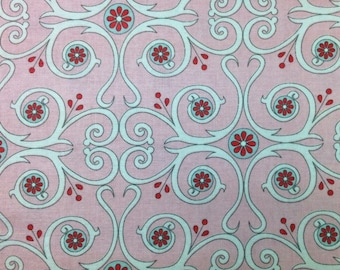 Red Rooster Primrose Sands (SWIRLS AND FLOWERS - Pink) 100% Cotton Premium Fabric - sold by 1/2 yard
