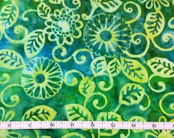 Michael Miller FLORAL FLING - CARIBBEAN Batik 100% Cotton Premium Fabric - sold by 1/2 yard