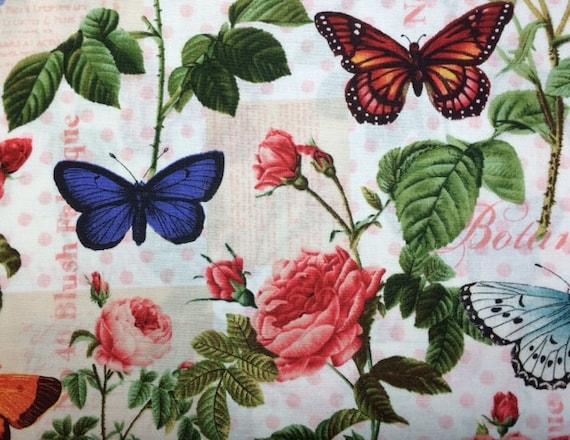 Rosenthal Represents SPRING GARDEN FLEUR 100/% Cotton Premium Fabric-Per 1//2 Yd