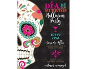 Day of the Dead Día de los Muertos Halloween Party 5x7 Invitation - Sugar Skulls - Printable and Personalized