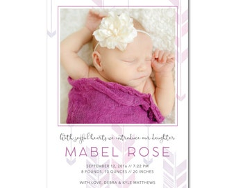 Modern Mini BirthBaby 5x7 Announcement with Photo Printable and Personalized