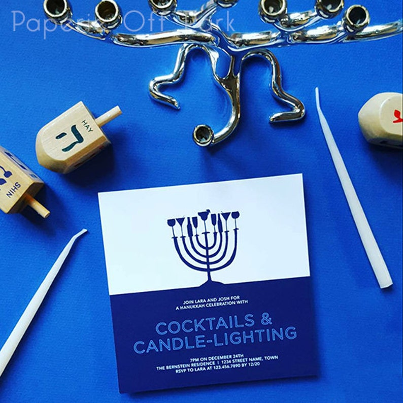 Hanukkah Party 6 Square Invitation with hand-drawn menorah Cocktails /& Candle-Lighting Printable and Personalized