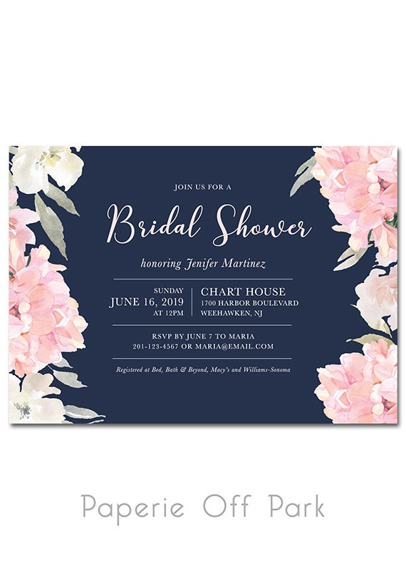 Bridal Shower 5x7 Invitation with watercolor flowers Navy | Etsy