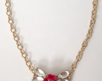 Mexican Red Rose & Crystal Necklace