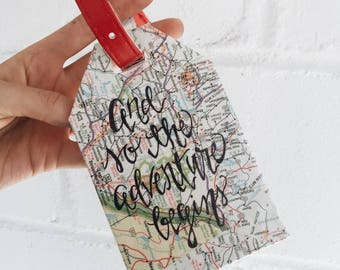 Recycled Map Luggage Tags