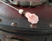 Victorian Hat Pin Vintage Inspired, Wedding Pink Pearl Lily, Antique Filigree Brass. Use as Scarf Pin. DISPLAY or USE Study, Clutch Inc.
