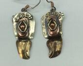 Mixed metal Eagle Mask Earrings