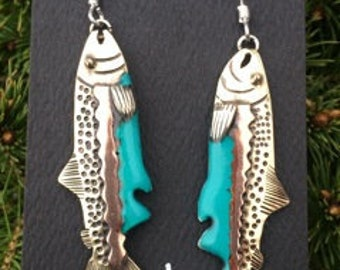 Mixed metal salmon with turquoise resin detail