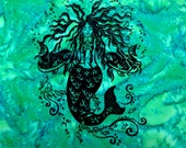 Mermaid hand screened on ...