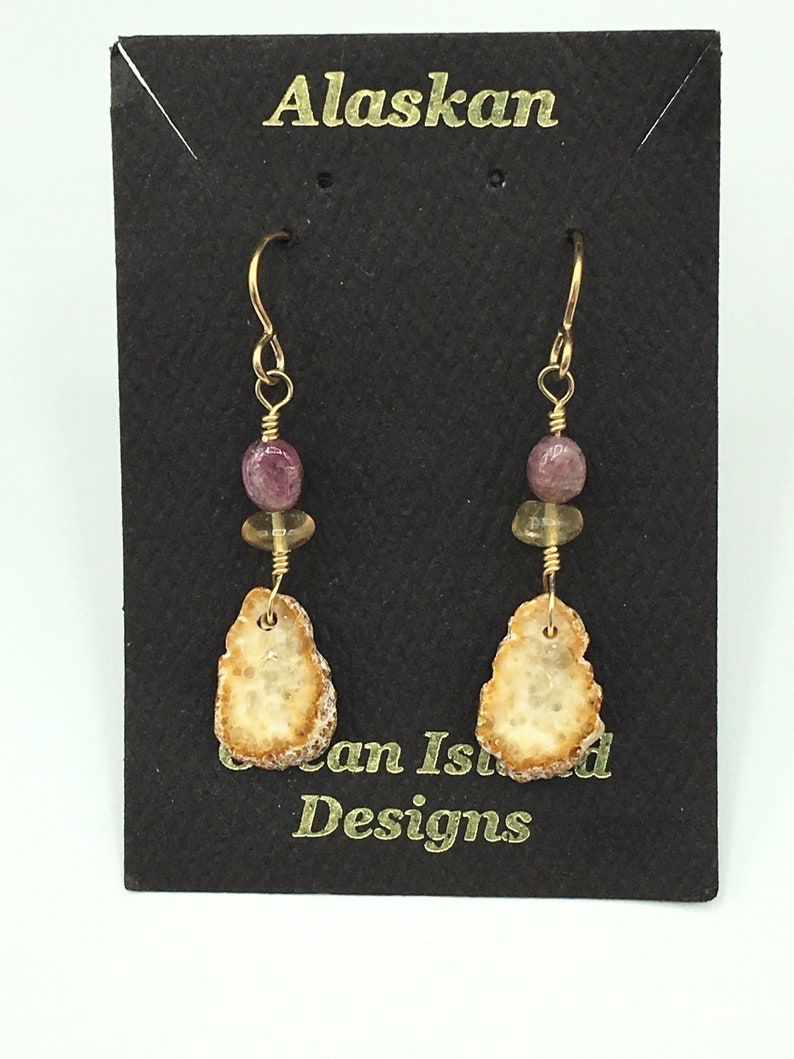 Earrings made from Fossilized Walrus tooth ivory slices with image 0