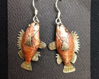 Copper, bronze and German Silver Rockfish earrings.