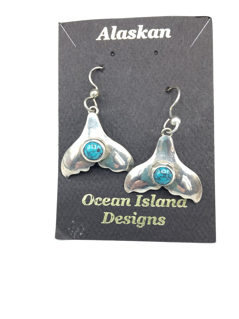 Whale Tails with Turquoise earrings image 0