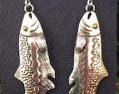 Salmon mixed metal earrings