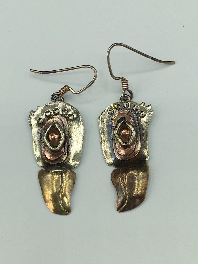 Mixed metal Eagle Mask Earrings image 0