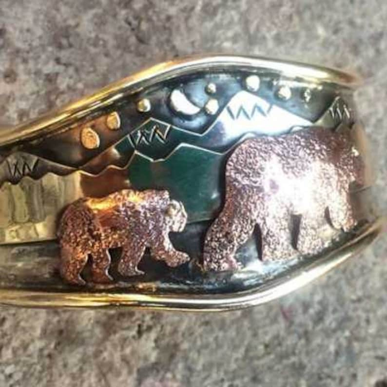 Mama Bear with Cub Cuff Bracelet by Ocean Island Designs image 0