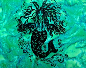 Mermaid hand screened on 100% cotton watercolor fabric