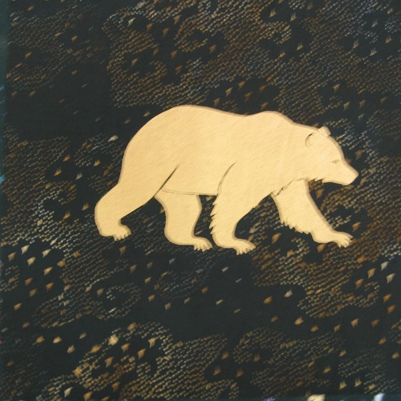 Hand screened cotton quilt panel Denali Bear image 0