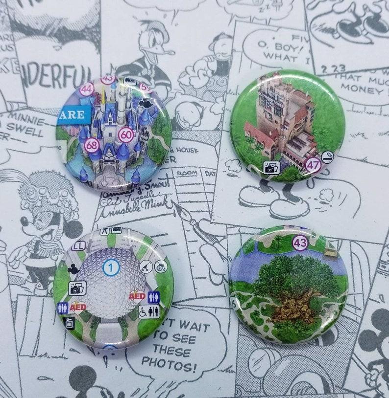 Disney World Park Map 1.25 Buttons | Etsy
