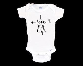 I Love My Gigi Onesie, New Grandmother Onsie, Grandma, Nana, Cute Gift for New Grandparents, Modern Infant Apparel, Unique Infant Bodysuit