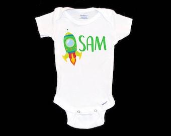 YUE--3BODY Red Yellow Rocket Spaceship Toddler Baby Boy Girl Long Sleeve Infant Cotton Bodysuits