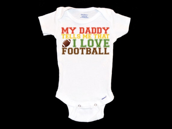 I Love My Football Dad Football Baby /& Infant T-Shirts Colors /& Sizes