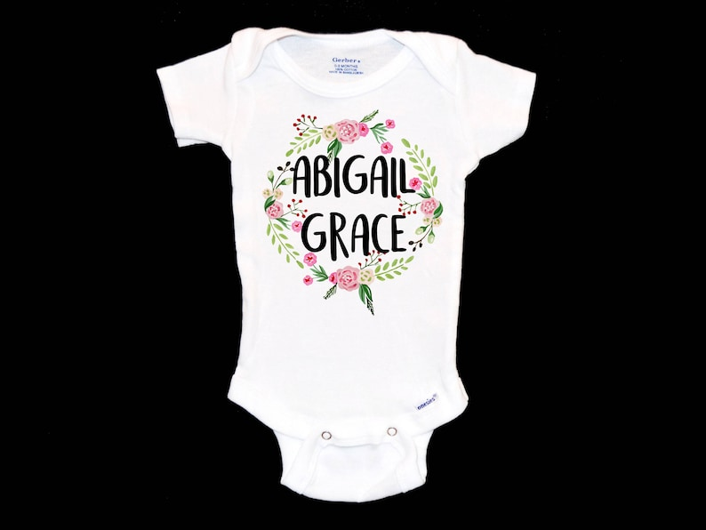 5f6c9f375 Custom Floral Wreath Onesie Customizable Baby Jumpsuit   Etsy